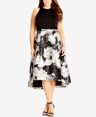City Chic Plus Size Victoria Printed High-Low Dress