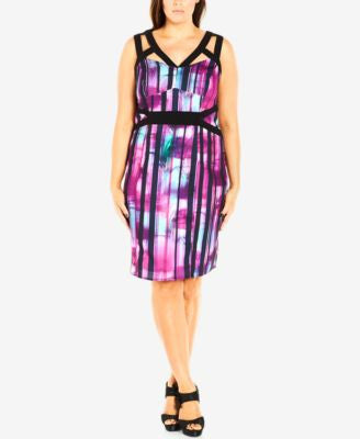 City Chic Plus Size Printed Cutout Bodycon Dress