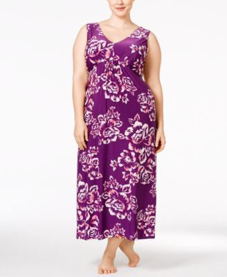 Alfani Plus Size Floral-Print Nightgown, Only at Vogily