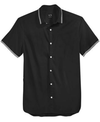 Armani Exchange Men's Short-Sleeve Tipped Woven Shirt