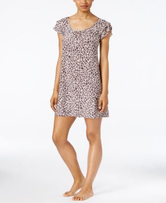 Alfani Flutter-Sleeve Leopard-Print Short Nightgown, Only at Vogily