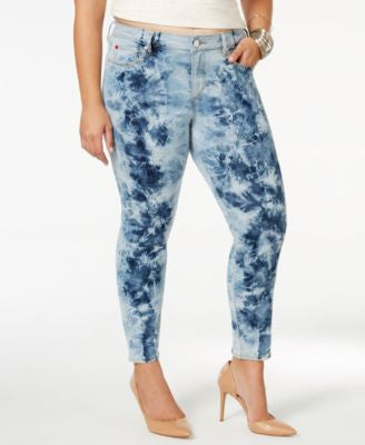 SLINK Jeans Plus Size Tie-Dye Ankle Jeggings