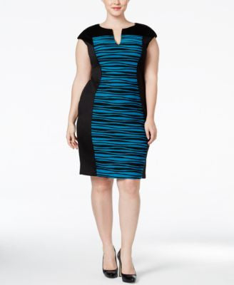 Connected Plus Size Printed Colorblocked Sheath Dress
