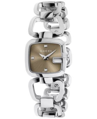 Gucci Watch, Women's Swiss G-Gucci Diamond Accent Stainless Steel Link Bracelet 24x23mm YA125503
