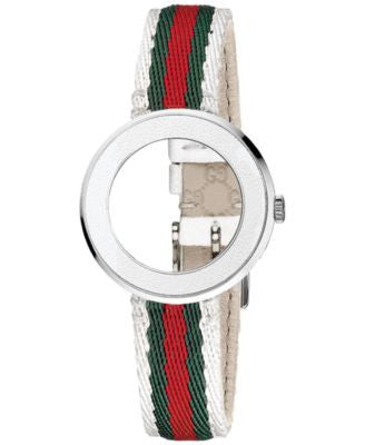 Gucci Watch Band Strap and Bezel, Women's Swiss U-Play Green, Red and White Nylon Strap 27mm YFA5004