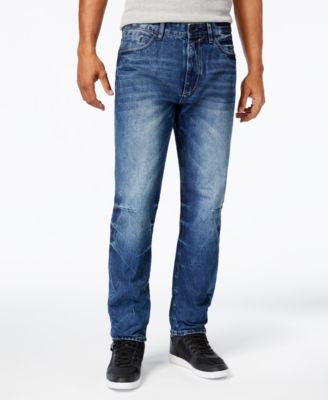 Sean John Men's Hamilton Indigo Crackle Wash Tapered Jeans
