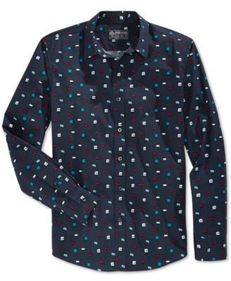 American Rag Men's Geometric-Print Long-Sleeve Shirt, Only at Vogily
