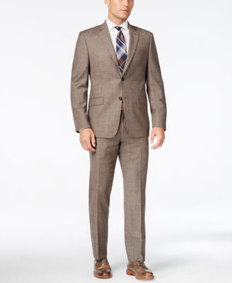 Lauren Ralph Lauren Men's Slim-Fit Light Brown Glen Plaid Flannel Suit