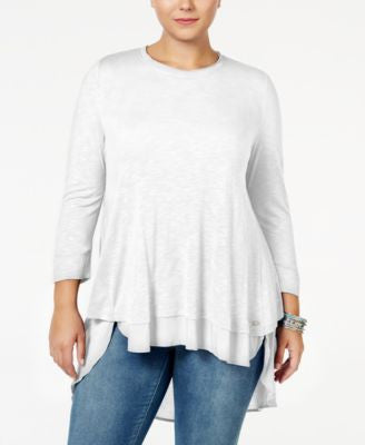 Melissa McCarthy Seven7 Trendy Plus Size Mixed-Media Layered Tunic