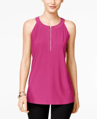 INC International Concepts Petite Half-Zip Halter Top, Only at Vogily