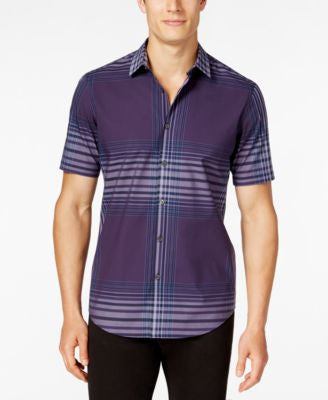 Alfani Men's Slim-Fit Spaced Plaid Short-Sleeve Shirt
