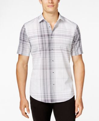 Alfani Men's Slim-Fit Modern Plaid Short-Sleeve Shirt