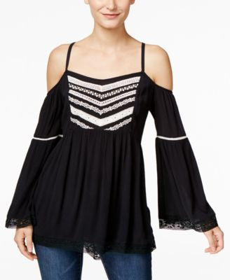 INC International Concepts Embroidered Cold-Shoulder Peasant Blouse, Only at Vogily