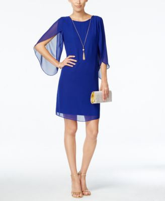 MSK Split Angel-Sleeve Necklace Dress
