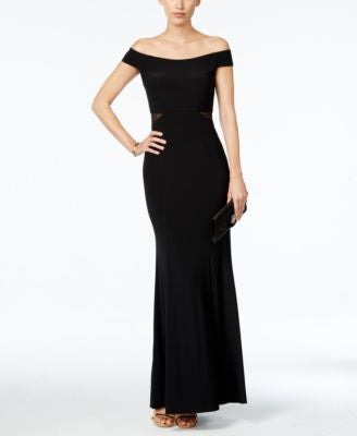Xscape Off-The-Shoulder Mesh-Inset Trumpet Gown