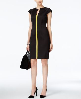 Tahari ASL Cap-Sleeve Contrast-Striped Sheath Dress
