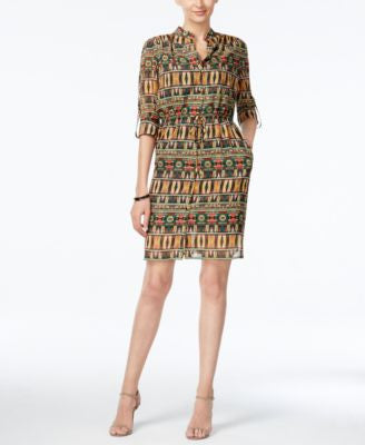 Tahari ASL Global-Print Drawstring Shirtdress
