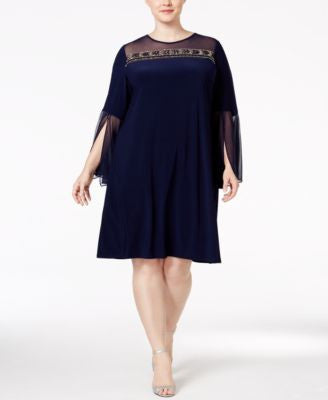 MSK Plus-Size Illusion Embellished Bell-Sleeve Dress