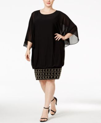 MSK Plus Size Batwing-Sleeve Beaded Shift Dress