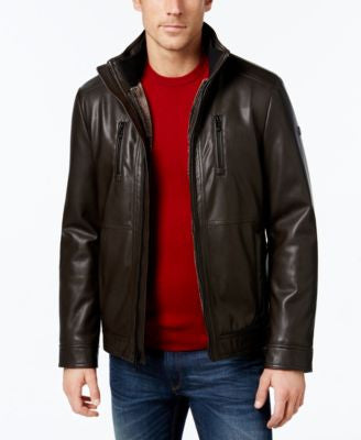Calvin Klein Men's Faux-Leather Stand-Collar Jacket, a Vogily Exclusive Style