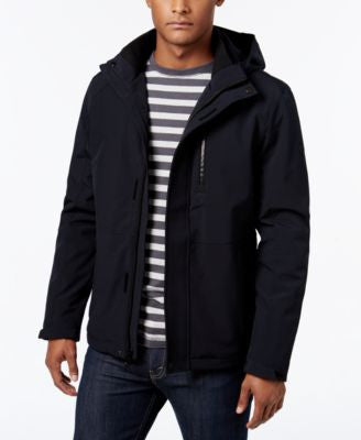 Calvin Klein Men's Softshell Hooded Jacket with Faux Fur Lining