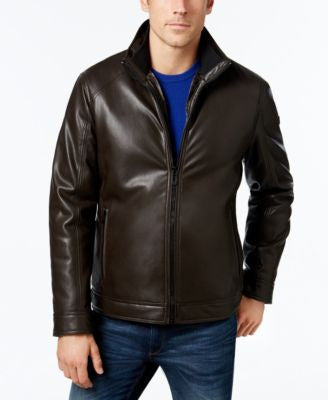 Calvin Klein Men's Faux-Leather Stand-Collar Jacket