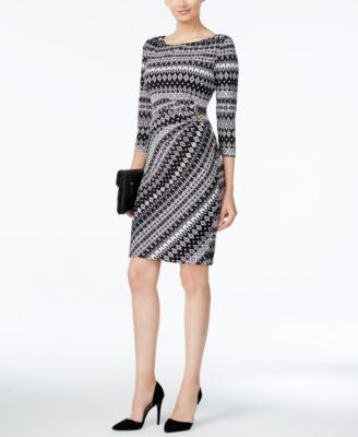Tahari ASL Geo-Print Sheath Dress