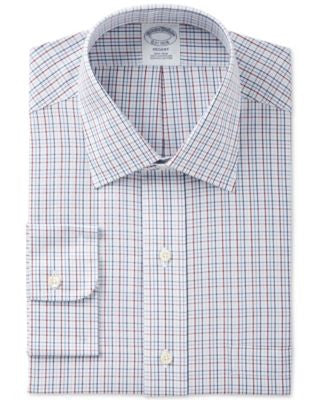 Brooks Brothers Men's Regent Classic-Fit Non-Iron Red Plaid Dress Shirt