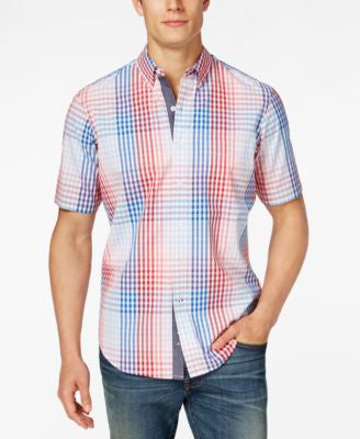 Club Room Men's Big and Tall Plaid Short-Sleeve Shirt, Only at Vogily