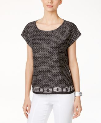 Vince Camuto Printed Dolman-Sleeve Blouse