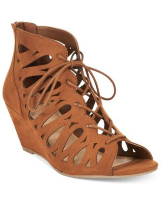 Material Girl Harlie Lace-Up Demi Wedge Sandals, Only at Vogily