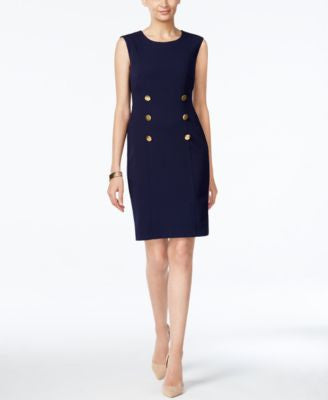 Connected Button-Accent Sheath Dress