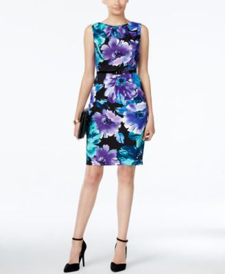 Connected Belted Floral-Print Sheath Dress