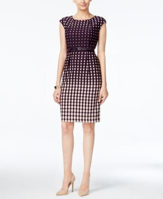 Connected Dot-Print Belted Sheath Dress