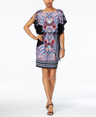 Sangria Belted Geo-Print Blouson Dress