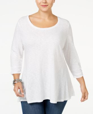 Style & Co. Plus Size Ruched-Sleeve Swing Top, Only at Vogily