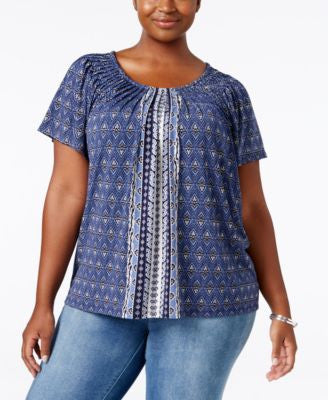 Style & Co. Plus Size Printed Pleated Top, Only at Vogily