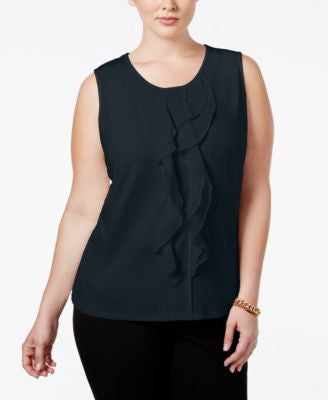 Charter Club Plus Size Ruffled Sleeveless Blouse, Only at Vogily