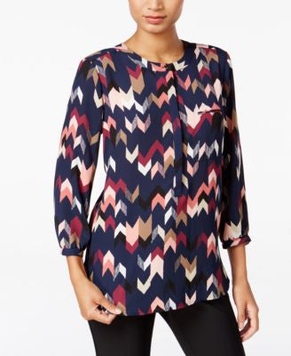 JM Collection Printed Pleated-Back Blouse, Only at Vogily