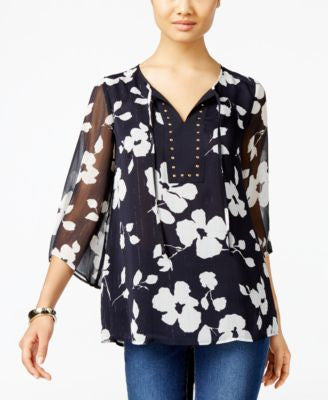 JM Collection Floral-Print Peasant Top, Only at Vogily