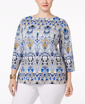 Charter Club Plus Size Scroll-Print Boat-Neck Top, Only at Vogily