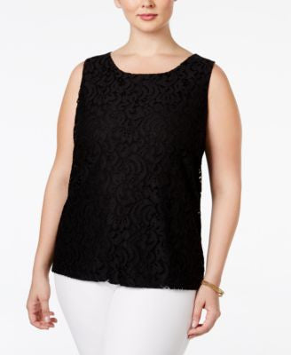 Charter Club Plus Size Sleeveless Lace Blouse, Only at Vogily