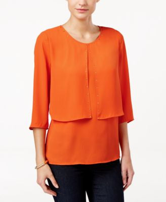 NY Collection Petite Embellished Layered-Look Top