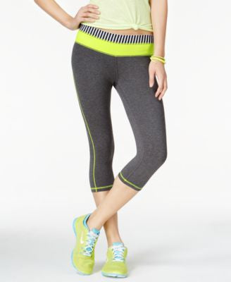 Material Girl Active Juniors' Foldover-Waist Graphic Cropped Leggings, Only at Vogily