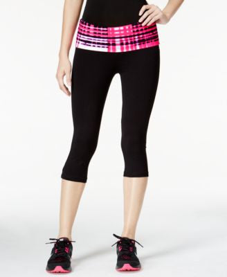Material Girl Active Juniors' Foldover-Waist Cropped Leggings, Only at Vogily