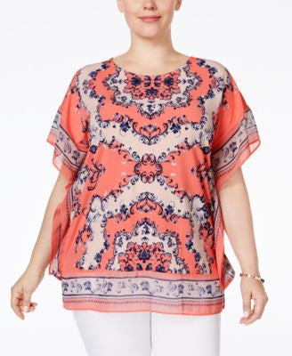 JM Collection Plus Size Printed Embellished Blouse, Only at Vogily