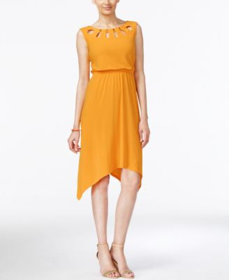 NY Collection Lattice-Neck Handkerchief-Hem Dress