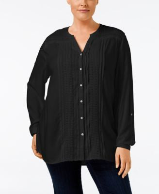 JM Collection Plus Size Embellished Peasant Blouse, Only at Vogily