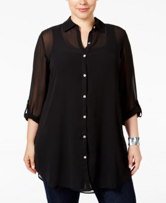 JM Collection Plus Size Sheer Tunic Shirt, Only at Vogily