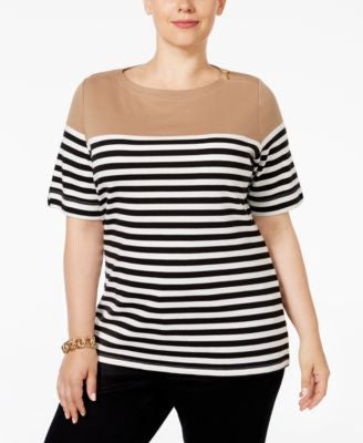 Karen Scott Plus Size Striped Top, Only at Vogily